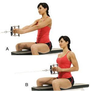 Back straight, elbows go past your ribs, crunch the back muscles like her.